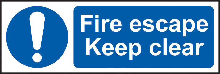 Fire escape Keep clear sign 1mm rigid plastic 600 x 200mm sign