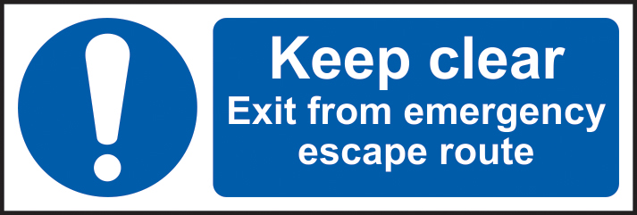 Keep clear Exit from emergency escape route sign 1mm rigid plastic 600 x 200mm sign