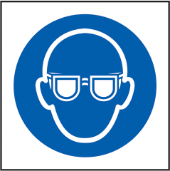 Wear eye protection symbol sign 1mm rigid plastic 100 x 100mm sign