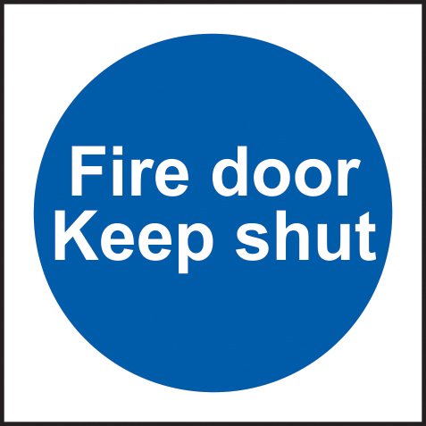 Fire door Keep shut sign 1mm rigid plastic 100 x 100mm sign