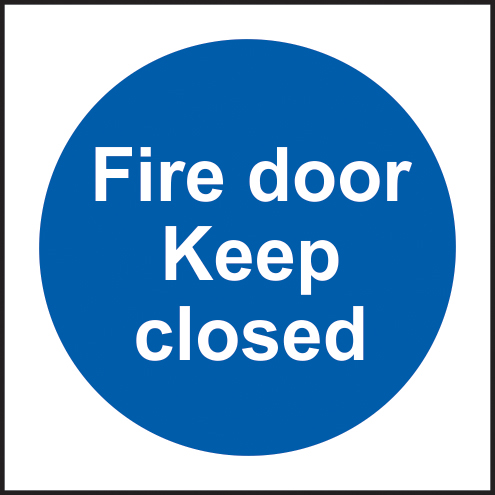 Fire door keep closed self adhesive vinyl 150 x 150mm sign