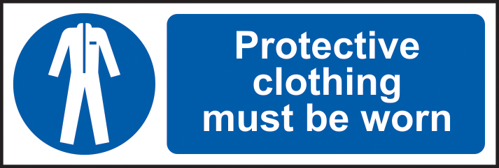 Protective clothing must be worn sign 1mm rigid plastic 600 x 200mm sign