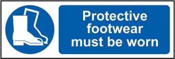 Protective footwear must be worn self adhesive vinyl 600 x 200mm sign