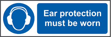 Ear protection must be worn self adhesive vinyl 300 x 100mm sign