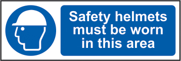 Safety helmets must be worn in this area sign 1mm rigid plastic 600 x 200mm sign