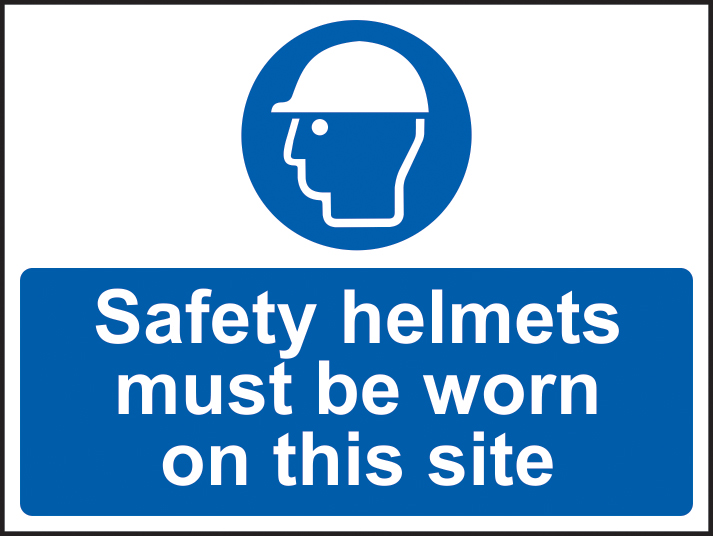 Safety helmets must be worn on this site self adhesive vinyl 600 x 450mm sign