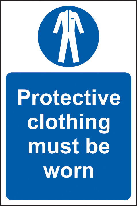 Protective clothing must be worn sign 1mm rigid plastic 200 x 300mm sign