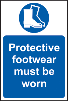 Protective footwear must be worn self adhesive vinyl 400 x 600mm sign