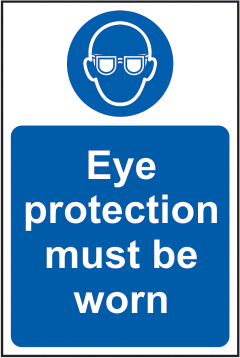 Eye protection must be worn self adhesive vinyl 200 x 300mm sign