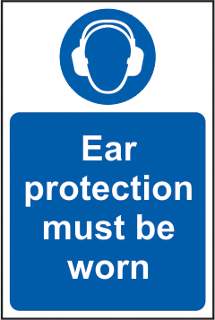 Ear protection must be worn self adhesive vinyl 200 x 300mm sign
