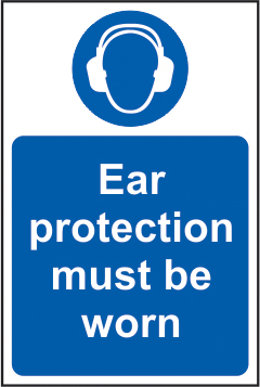 Ear protection must be worn sign 1mm rigid plastic 200 x 300mm sign