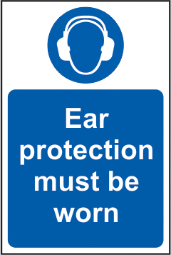 Ear protection must be worn self adhesive vinyl 400 x 600mm sign