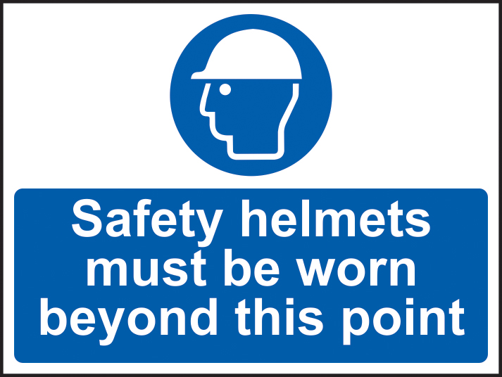 Safety helmets must be worn past this point self adhesive vinyl 600 x 450mm sign