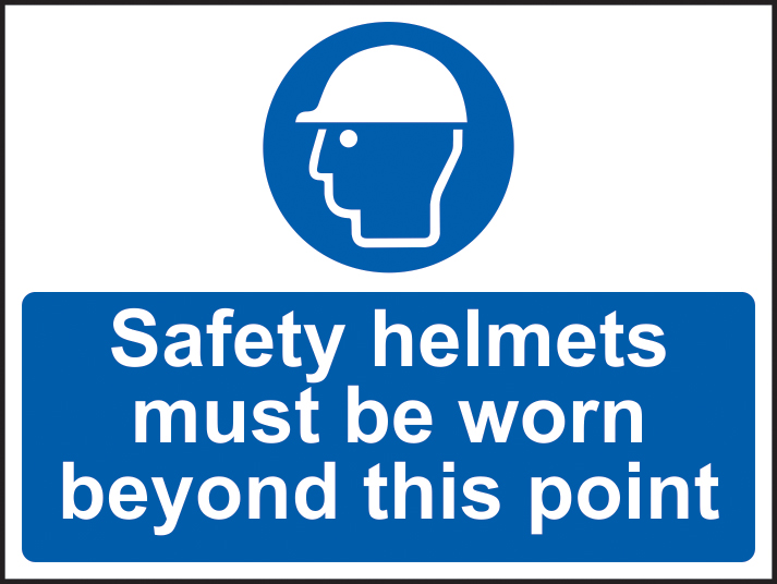Safety helmets must be worn past this point sign 1mm rigid plastic 600 x 450mm sign