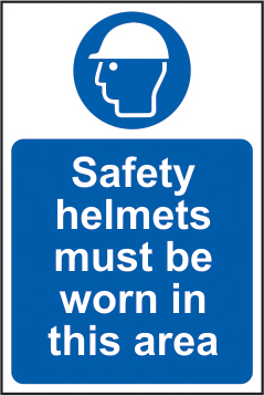 Safety helmets must be worn in this area self adhesive vinyl 200 x 300mm sign