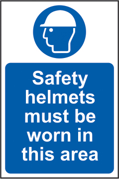 Safety helmets must be worn in this area sign 1mm rigid plastic 200 x 300mm sign