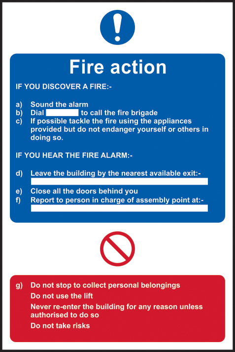 Fire action procedure sign 1mm rigid plastic 400 x 600mm sign