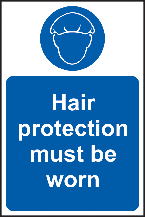 Hair protection must be worn self adhesive vinyl 200 x 300mm sign
