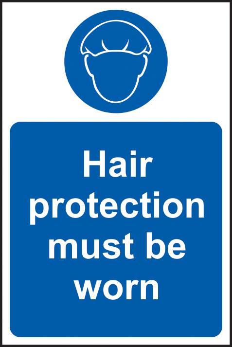 Hair protection must be worn sign 1mm rigid plastic 200 x 300mm sign