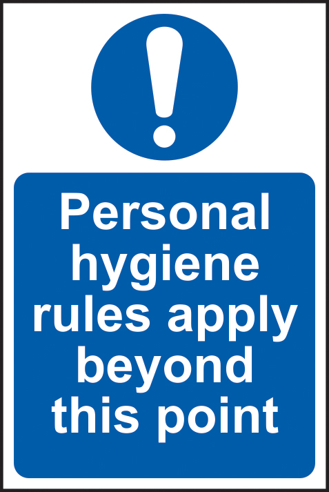 Personal hygiene rules apply beyond this point self adhesive vinyl 200 x 300mm sign