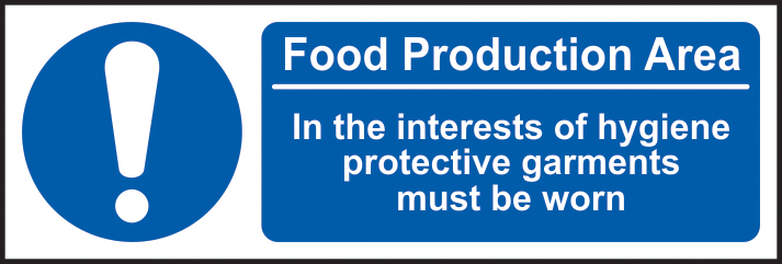 This is a food production area. ?In the interests of hygiene sign 1mm rigid plastic 300 x 100mm sign