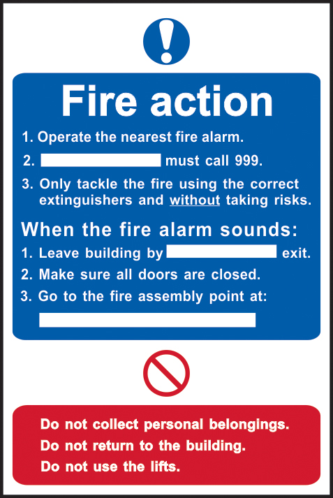 Fire action procedure sign 1mm rigid plastic 200 x 300mm sign