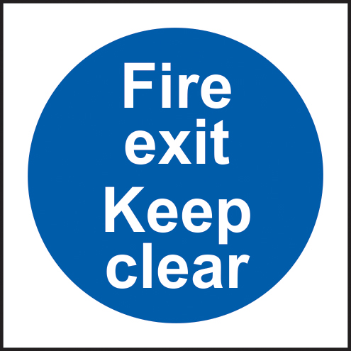 Fire exit keep clear self adhesive vinyl 300 x 300mm sign