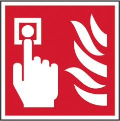 Fire alarm call point symbol self adhesive vinyl 100 x 100mm sign