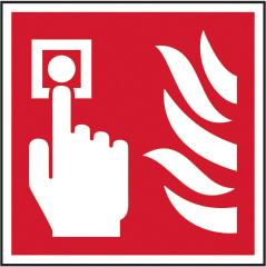 Fire alarm call point symbol sign 1mm rigid plastic 100 x 100mm sign
