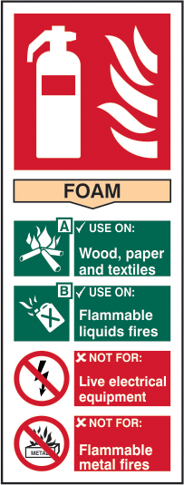 Fire extinguisher: Foam sign 1mm rigid plastic 82 x 202mm sign