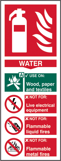Fire extinguisher: Water sign 1mm rigid plastic 82 x 202mm sign