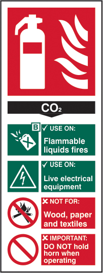 Fire extinguisher: CO2 sign 1mm rigid plastic 82 x 202mm sign