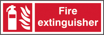 Fire extinguisher self adhesive vinyl 300 x 100mm sign