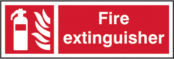 Fire extinguisher sign 1mm rigid plastic 300 x 100mm sign