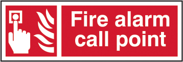 Fire alarm call point sign 1mm rigid plastic 300 x 100mm sign