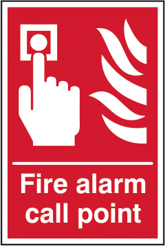 Fire alarm call point sign 1mm rigid plastic 200 x 300mm sign