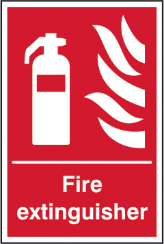 Fire extinguisher self adhesive vinyl 200 x 300mm sign