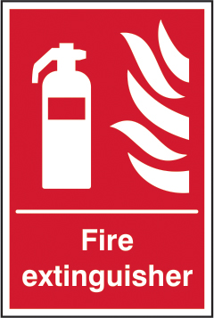 Fire extinguisher sign 1mm rigid plastic 300 x 400mm sign