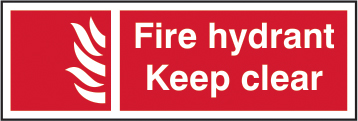 Fire hydrant Keep clear self adhesive vinyl 300 x 100mm sign