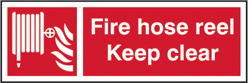 Fire hose Keep clear self adhesive vinyl 300 x 100mm sign