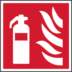 Fire extinguisher symbol self adhesive vinyl 200 x 200mm sign