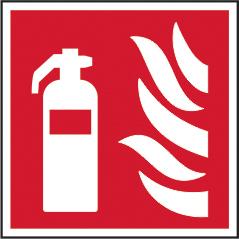 Fire extinguisher symbol sign 1mm rigid plastic 200 x 200mm sign