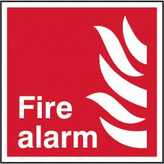 Fire alarm sign 1mm rigid plastic 200 x 200mm sign