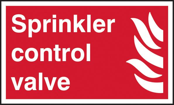 Sprinkler control valve self adhesive vinyl 250 x 150mm sign