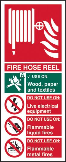 Fire hose reel sign 1mm rigid plastic 82 x 202mm sign