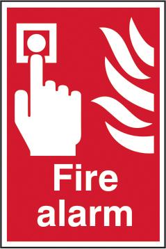 Fire alarm sign 1mm rigid plastic 200 x 300mm sign