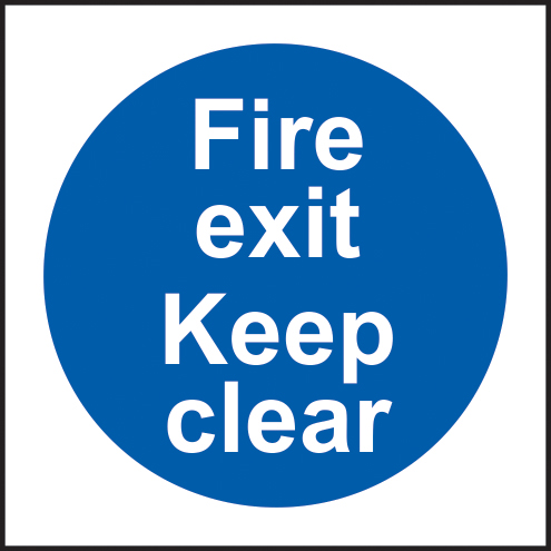 Fire exit Keep clear self adhesive vinyl 100 x 100mm sign