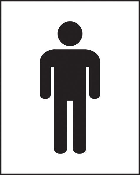 Male symbol self adhesive vinyl 250 x 200mm sign