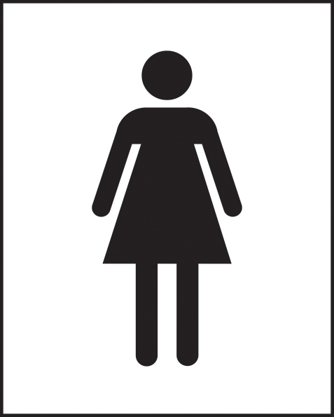 Female symbol self adhesive vinyl 250 x 200mm sign