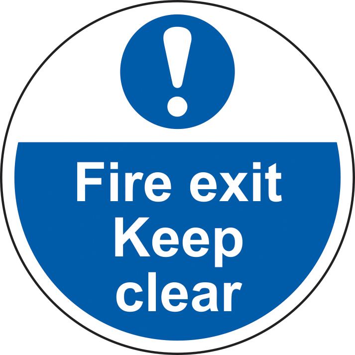 400mm diameterFire Exit Keep Clear Floor Graphic sign